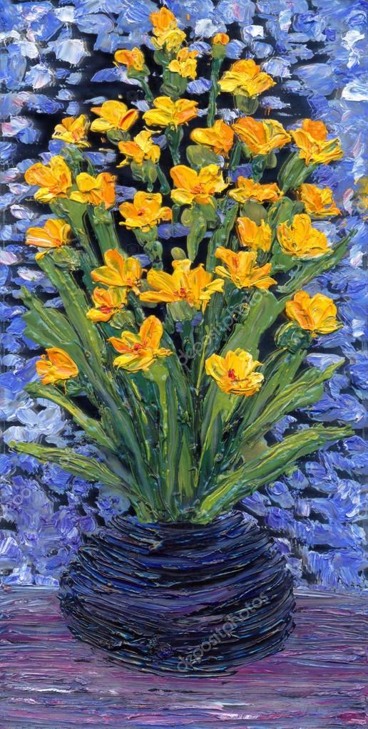 Peinture l 39 huile bouquet de fleurs jaunes dans un vase for Bouquet de fleurs jaunes
