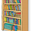 Vector illustration. Bookcase with varied collection of books — Stock Vector