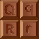 Vector stylized alphabet. Characters printed on blocks of chocolate bar. — Stock vektor