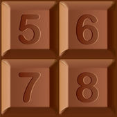 Vector set of stylized characters printed on blocks of chocolate bar. Figures 5, 6, 7, 8 — Stock Vector