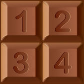 Vector set of stylized characters printed on blocks of chocolate bar. Figures 1, 2, 3, 4 — Stock Vector