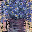 Still life oil painting. Bouquet of blue flowers in dark vase — Stock Photo