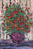 Масло натюрморт. Букет из красных цветов в круглой вазе — Стоковое фото