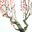Watercolor background. Red flowers on tree branches — Stock Photo
