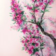 Watercolor spring background. Magenta flowers on tree branches — Stock Photo