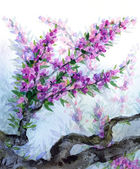Watercolor spring background. Purple flowers on tree branches — Stock Photo
