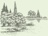 Vector summer landscape. Forest trees on the river bank — Vector de stock