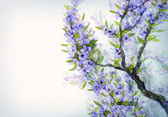 Watercolor spring background. Blue flowers on tree branches — Stockfoto
