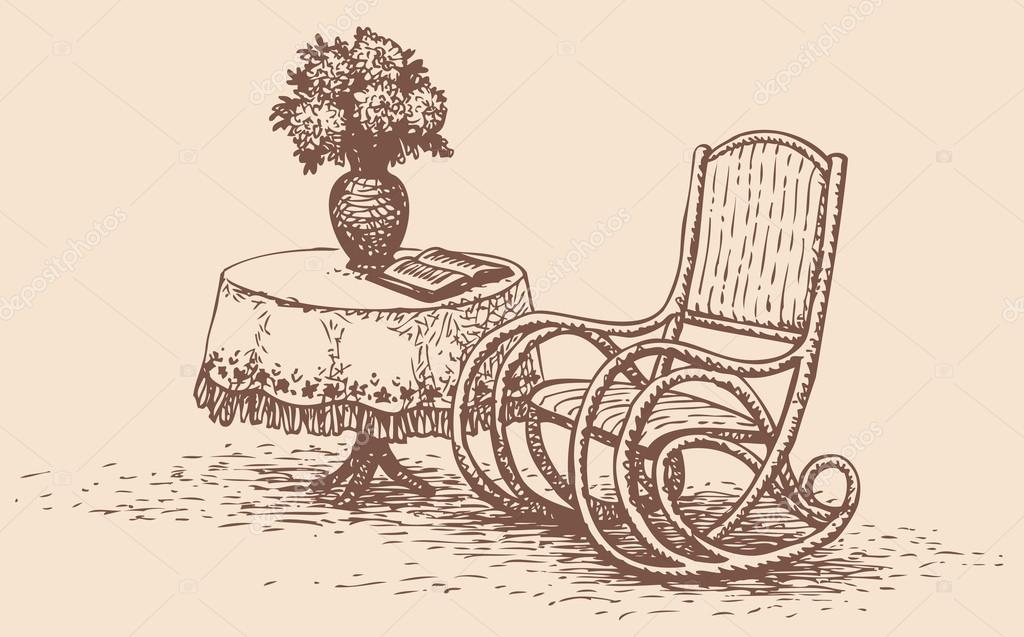 Vector disegno comoda sedia a dondolo in piedi vicino al - Tavolo con sedie dwg ...