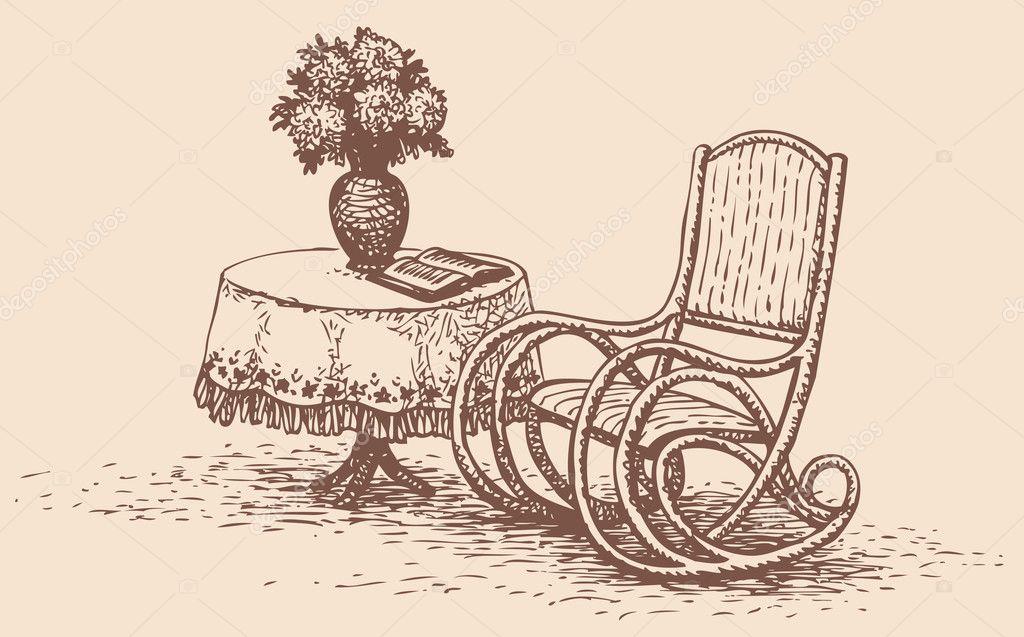 Comoda sedia a dondolo vicino alla tavola rotonda di - Sedia a dondolo disegno ...