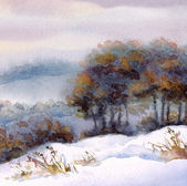 Watercolor winter landscape. Snow-covered valley and trees on the hill — Stok fotoğraf