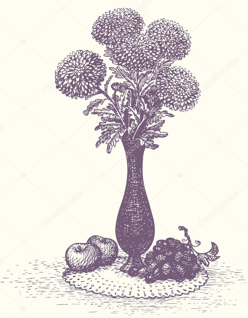 vector bodegn manzanas y uvas cerca de ramo de flores en jarrn alto u vector