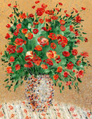 Painting by oil. A still life from red flowers — Stock Photo