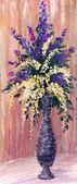 Natura morta olio. un lussureggiante bouquet in un grazioso vaso — Foto Stock