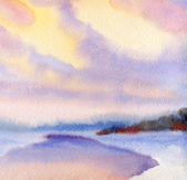Watercolor winter landscape. Evening sky over lake — Stock fotografie