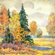 Watercolor landscape. Gloomy autumn forest — Stock Photo #38060663