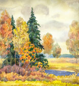 Watercolor landscape. Gloomy autumn forest — Stock Photo