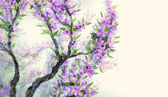 Watercolor spring background. Violet flowers on tree branches — Photo