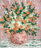 Oil painting. A lush bouquet of fresh flowers — Stok fotoğraf