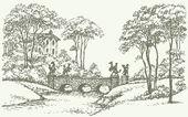 Vector landscape. Stone bridge over a rivulet in palace park — Stock Vector