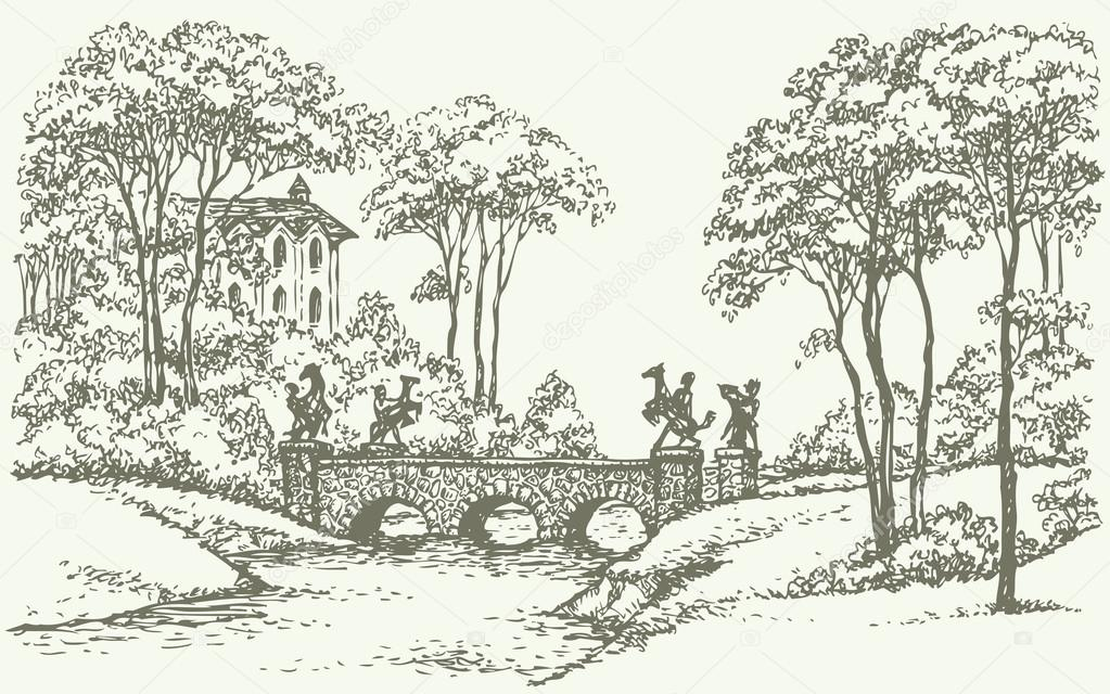 Old Stone Bridge Drawing Sketch of an Old Stone Bridge