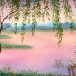 Watercolor landscape. Willow by the lake — Stock Photo
