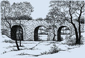 Vector landscape. Old dilapidated stone bridge in the park — Stok Vektör