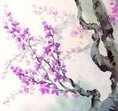 Akvarel na jaře pozadí. fialové květy na větve stromů zasta — Stock fotografie