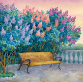 Watercolor landscape. Bench under a flowering lilac — Stock Photo