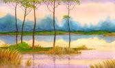Watercolor landscape. Spring sunrise on the lake — Stock Photo