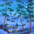 Watercolor landscape. Winter night at village — Stock Photo