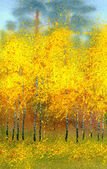 Watercolor landscape. Autumn birches in the forest — Stock Photo