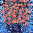 Still life oil. Bouquet of red flowers on blue background — Stock Photo #39039719