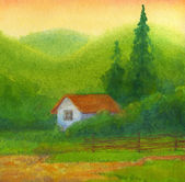 Watercolor landscape. Old house under hills at sunset — Foto Stock