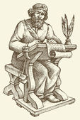 Vector line drawing of an ancient chronicler — Stock Vector