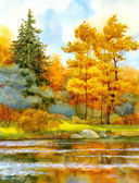 Watercolor landscape. Autumnal forest on the lake — Stok fotoğraf