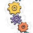 Vector cartoon colorful spinning gears — Stock Vector