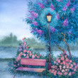 Stock Photo: Watercolor landscape. Glowing lantern near bench in spring park
