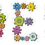 vektorové abeceda písmen karikatura od rotující ozubená kola — Stock vektor #39648469