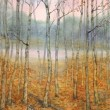 Watercolor landscape. A quiet evening in the autumn forest — Stock Photo #39760041