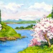 Watercolor spring landscape — Stock Photo