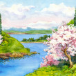 Watercolor spring landscape — Stock Photo #39800455