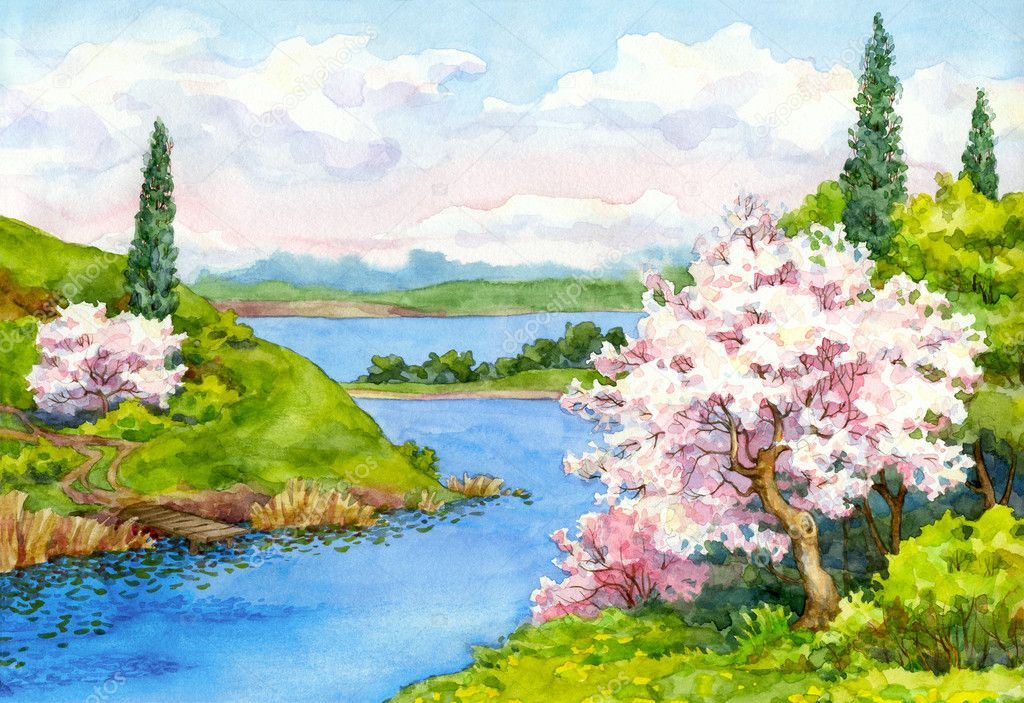 Watercolor spring landscape — Stock Photo © Marinka #39800455
