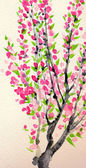 Watercolor spring background. Crimson flowers on the tree branches — Stock fotografie