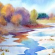 Stock Photo: Watercolor landscape. Thaw river in valley near forest