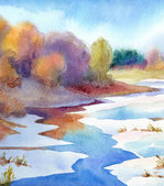 Watercolor landscape. Thaw the river in valley near forest — Stock Photo