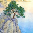 Pine on a high rocky cliff above the sea — Stock Photo