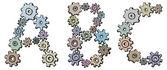 Vector alfabet van karikatuur brieven van spinnen versnellingen — Stockvector