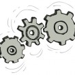 Vector cartoon gear wheels isolated on white background — Stock Vector