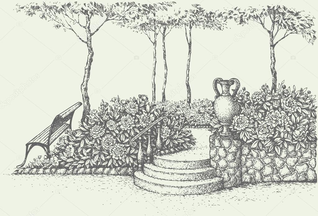 banco de jardim vetor:Paisagem de vetor. banco de Praça sob a árvore perto de escadas com